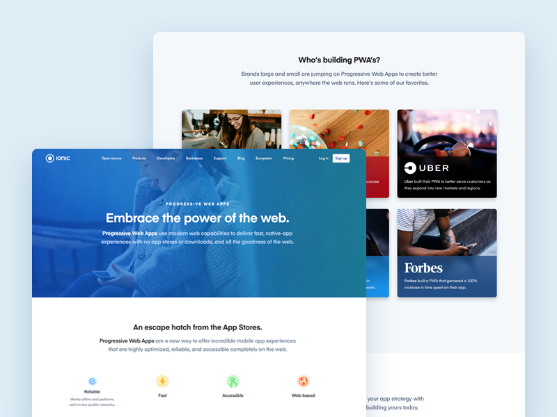 PWA Page Design - Embrace the Power of the Web by Ben Sperry on Dribbble