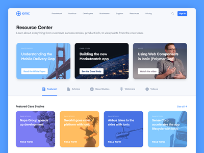 New Resource Center desktop interface resources ui website page landing design ionic