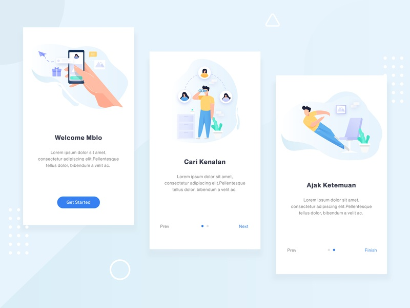 Mblo Landing Page Exploration android ios interface material social mobile app exploration card illustration ui