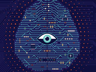 See me, hear me circuit board circuit cloud brain ear eye hear see artificial intelligence