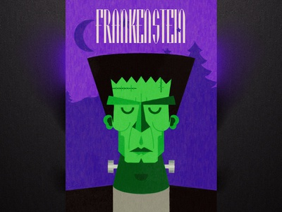 Frankenstein monster halloween poster typography castle blood dark scary vampire frankenstein