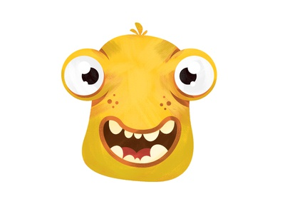 Yellow monster face casino funny scary eyes illustration cartoon monster yellow