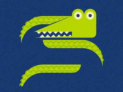 Crocodile water face alligator picasso abstract minimal animal crocodile