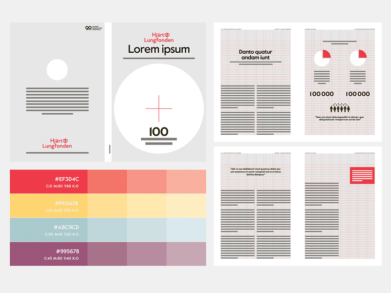 Booklets for The Swedish Heart-Lung Foundation editorial palette color palette graphic design indesign grid