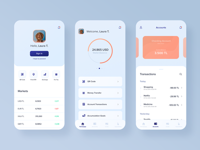 Mobile Banking App application mobile banking design ui flat