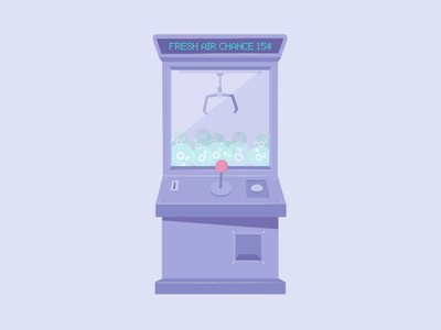 Quarantine Claw Machine claw futureanxiety machine oxygen o2 lilac coronavirus pandemic quarantinedays claw machine illustration flat
