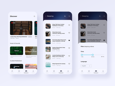 Meditation Library filter ui filter discover list view listing galery library design flat ux design mobile ui application mobile meditation meditation app