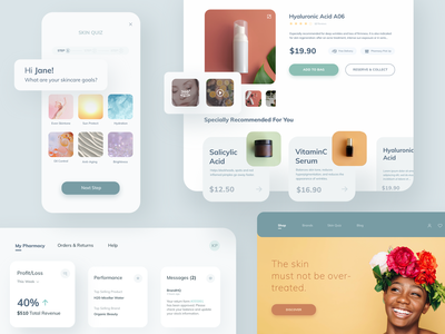 Beauty & Cosmetic Brand - Concept Design branding design ecommerce shop skincare dermatology landing page design pastel colours productdesign product page cosmetology beauty product quiz app onlineshopping dashboard concept design webdesign application mobile design ux ui