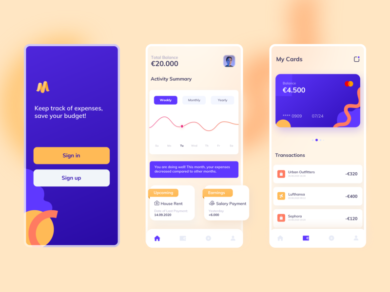 Budget Tracking App onlinebanking transactions cards earnings geometrical tracking app budget branding design flat branding design banking ux ui mobile ui application mobile