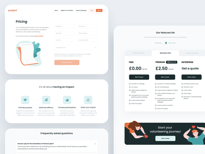 Goodsted - Pricing Landing Page business plan popup form landing page landing page design faq website impact banner ads userinterfacedesign volunteering pricing table pricing plan pricing page flat desktop webdesign ux design ui