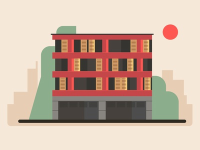 Summer evening building vector illustraion