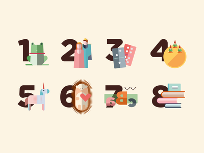 Fantastic numbers numbers design kids illustration vector illustration