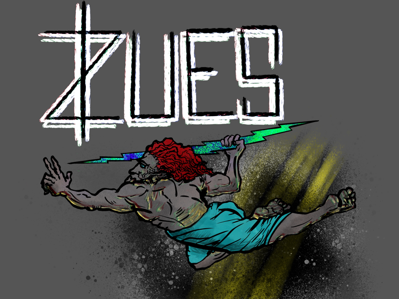 Zues highlight dark procreateart procreate strong lettering art trippy gods greek myths zues