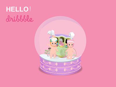Hello Dribbble! angle sonny illustration dribbble hello