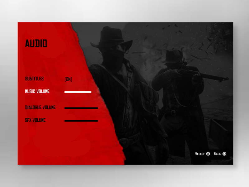 Daily UI 007 - Settings videogame settings red dead redemption playstation4 ps4 design ux daily ui user interface graphic design ui