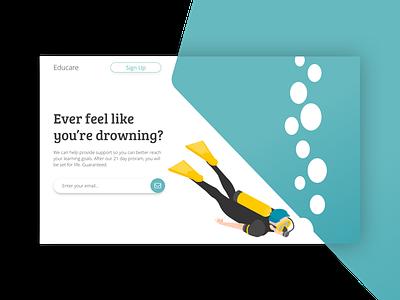Scuba Diver Hero typography logo ui minimal illustration animation portfolio branding website webdevelopment web developer webdeveloper webdev webdesign web deisgn web flat design