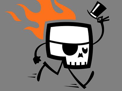 SKULLUXE dandy mascot skull flames cartoon logo skulluxe