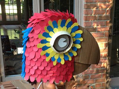 Cardboard parrot mask make hobby mask cardboard