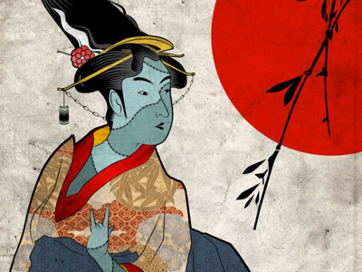 Frankengeisha modern photoshop illustrator character stitches kimono horror japan geisha monster illustration frankenstein
