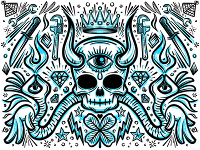 Mirrored doodle skull