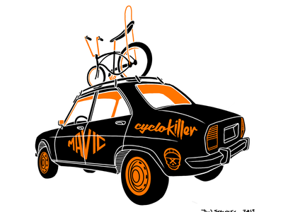 Service car automotive cycling bicycle illustration