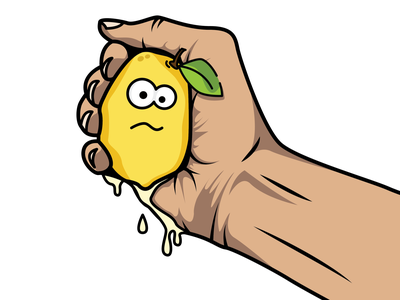 Hand Squeezing Lemon Illustration project squeeze hand graphic design lemon branding design vector illustration