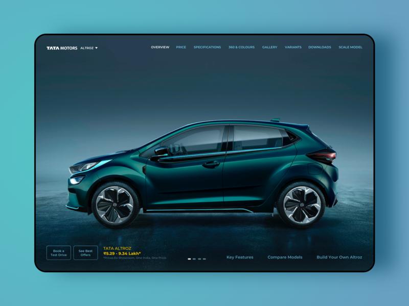 Tata Altroz web UI concept ipad application website design automobile uxui ui design uxdesign uidesign interfacedesign