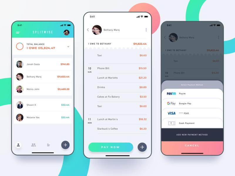 SplitWise UI concept ui iphoneapp iosapp app mobileappdesign design uidesign uxui uxdesign interfacedesign