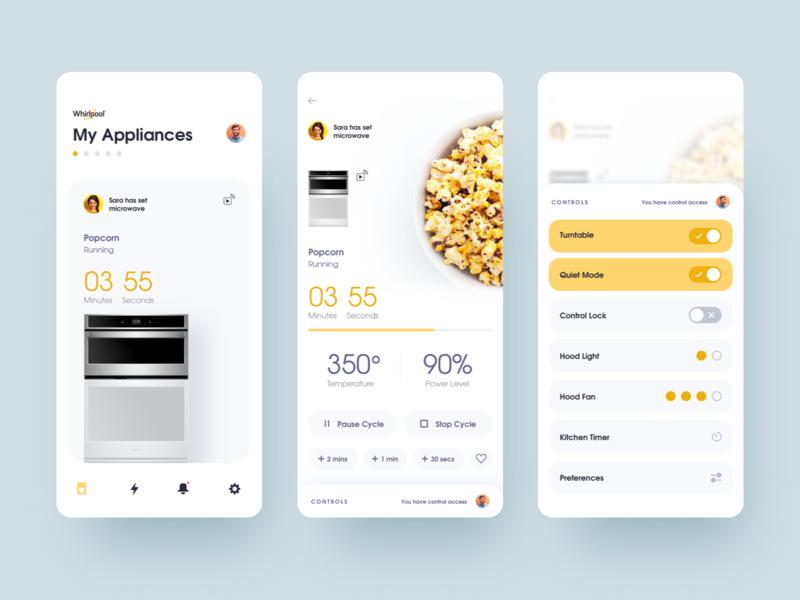 Homemade Microwave Popcorn | Home Appliances UI exploration ui ux iphoneapp app iosapp uxui mobileappdesign uxdesign uidesign interfacedesign design