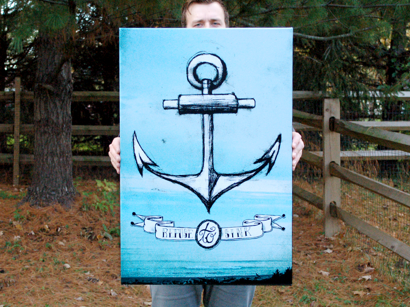 Refuse to Sink art anchor print illustration hand drawn canvas nautical sea ocean banner
