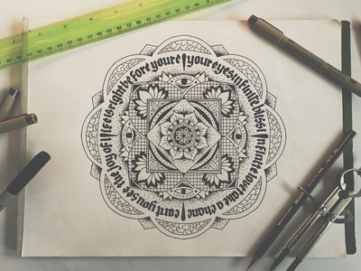 MANdala mandala hand drawn type typography blackletter circle symmetry