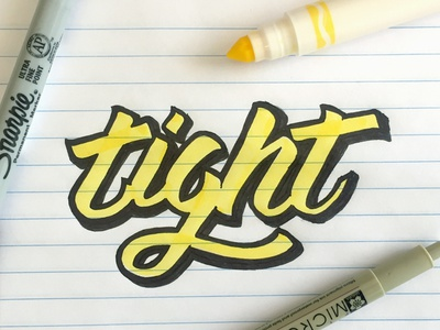 Tight handdrawn paper shadow stroke ink pen marker crayola typography type script lettering