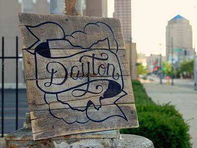 Home, Dayton, Ohio banner brushscript script typography type handmade handdrawn wood pallette ohio dayton