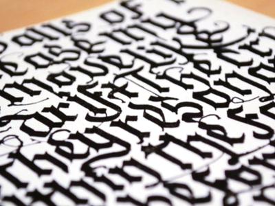 Sketchbook Detail paper ink blackletter typography type calligraphy lettering video