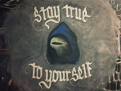 Evil Kermit in chalk chalkboard chalk illustration kermit gothic blackletter typography type script lettering