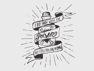 I did away with the poison, but I still feel like I'm dying knockedloose hardcore sketch paper pencil lyrics bottle poison lettering handdrawn typography type