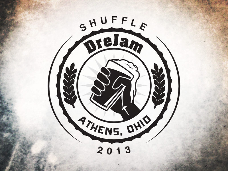 Drejam Shuffle Icon shuffle drejam logo icon illustration drink hand beer alcohol leaves circle black 2013 athens ohio bar