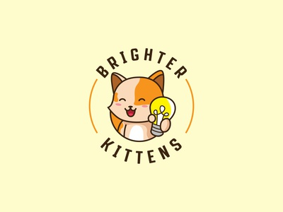 BRIGHTER KITTENS Cute Logo Design