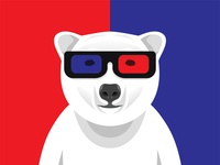 Polar Bear With 3D Glasses