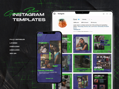 "Instagram Templates ""Green Blue"""