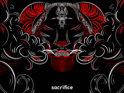 Sacrifice rock horn art dark moustache goat lamb apparel design grqphic