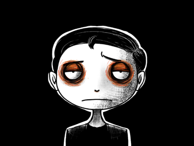 My Avatar neat toon outstanding handsome tired creepy unique digital texture rough illustration tim burton