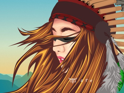 Native American Girl Vector