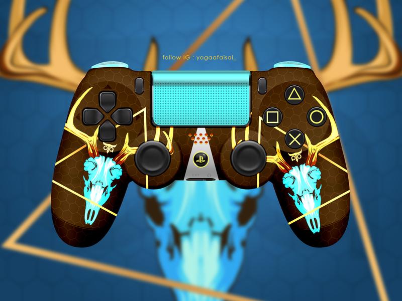 Ps4 Controller  Custom best illustrator powerfull design custom ui art animal skull deer controller ps4