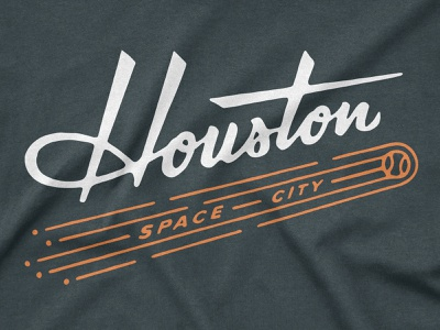 Space City typography handlettering type lettering astros retro apparel logo baseball