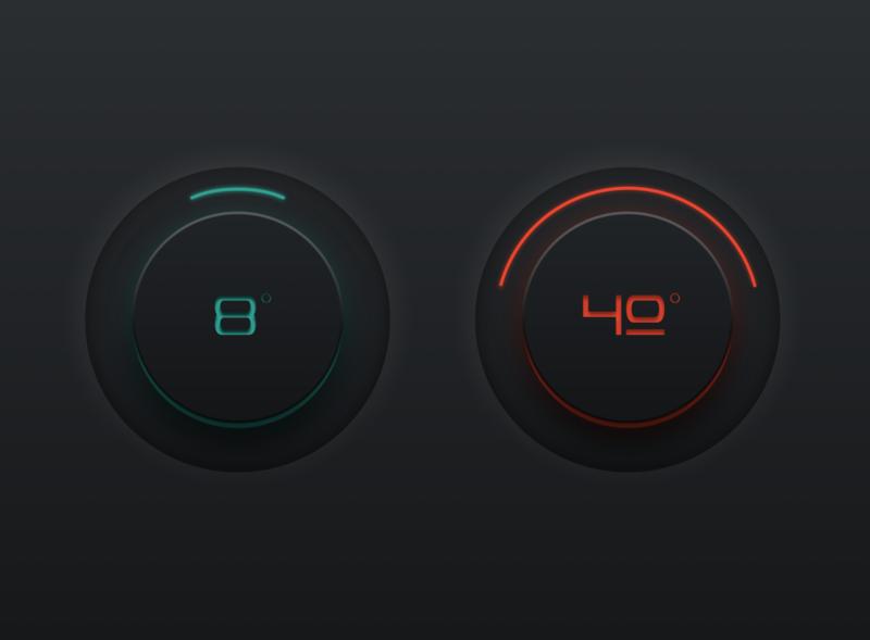 Skeumorphic Thermostat Rebound sketch 3d redesign neumorphic skeumorphic vector branding flat simple dailyui app ui simple design minimal design