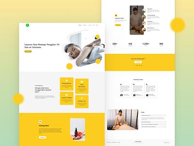 Online Massage service website illustration color service agency typography landing page flat minimal ux ui website branding vector webdesign clean design