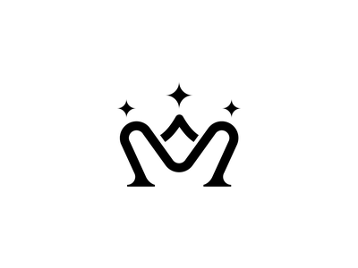 M + CROWN letters lettering vector minimal flat icon illustration design logo identity branding