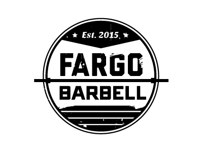 Fargo Barbell  flag circle logo weightlifting gym crossfit banner barbell fargo