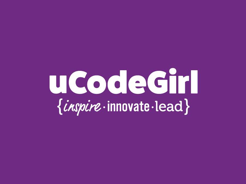 uCodeGirl code girl startup north dakota non profit girls in tech technology code typography logo